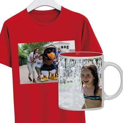 Camiseta y taza con fotos personales de la Tienda de Personalización.